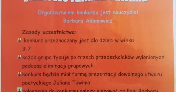 """Przedszkolny konkurs recytatorski """"Wiersze Juliana Tuwima""""- marzec 2018"""