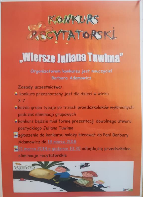 Przedszkolny Konkurs Recytatorski Wiersze Juliana Tuwima
