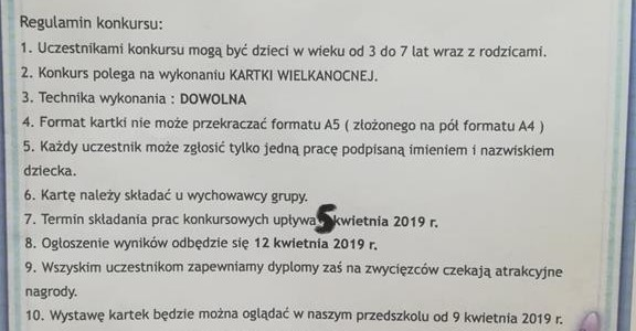 """Konkurs plastyczny """"Kartka Wielkanocna""""- marzec-kwiecień 2019"""